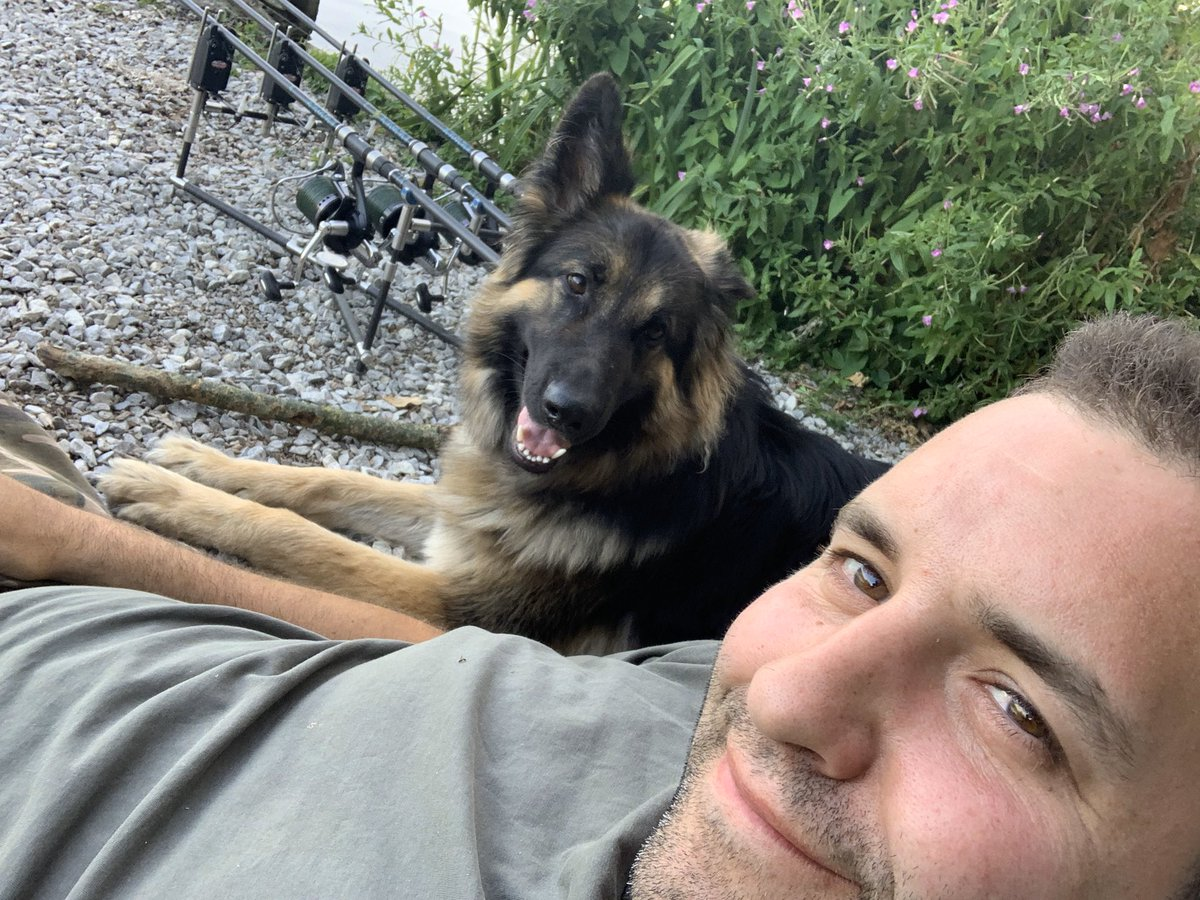 Looking forward to going fishing with blue when all this is over!! #gsd #carpfishing 🎣🎣🎣�