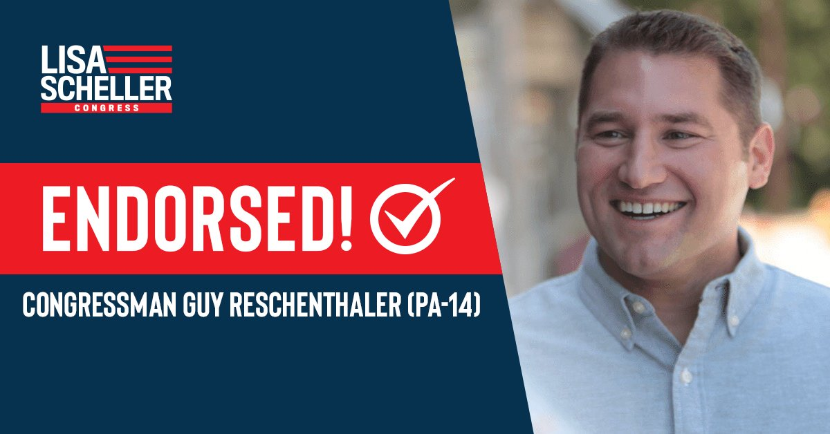 """Nobody will work harder for the people of #PA07 than Lisa Scheller,"" said @reschenthaler. ""She knows that we need a vibrant economy at home & strong presence abroad. As someone whose grandparents came here to live the American Dream, Lisa won't forget that freedom comes first."""