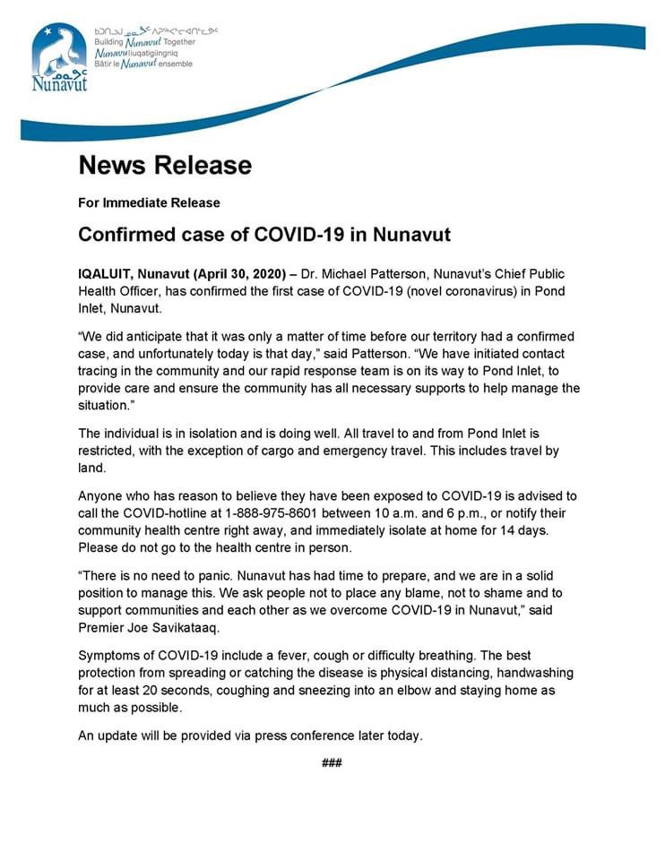 test Twitter Media - First case of #COVID19 in #Nunavut announced by @GOVofNUNAVUT in #Qikiqtani community of #PondInlet https://t.co/ogoERm5znj