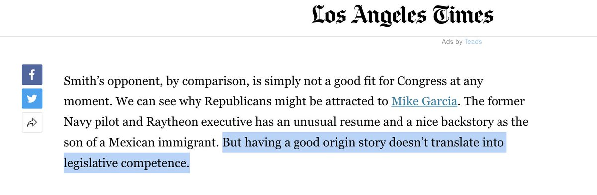 Wow. Absolute disgrace.  @latimes thinks @mikegarcia2020, a decorated Navy pilot who fought for our county & led in combat, isn't qualified to serve because he's not a career politician like his opponent. DC has enough politicians - #CA25 send us a VET!