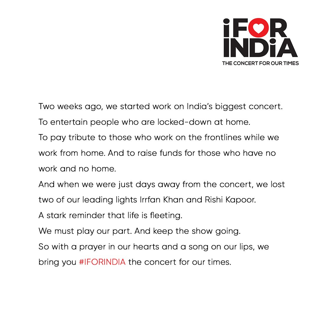 #IFORINDIA, the concert for our times. 3rd May, 7:30pm IST. Watch it LIVE worldwide on Facebook. 100% of proceeds go to the India COVID Response Fund set up by @GiveIndia  Tune in -   Donate now -   Do your bit. #SocialForGood