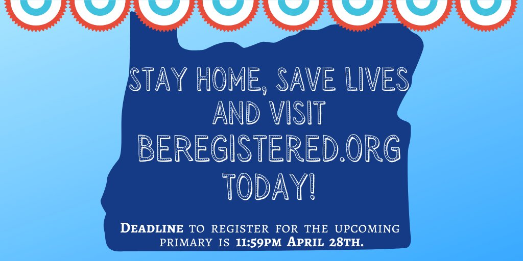Tomorrow is the voter registration deadline for the upcoming primary. Luckily you can register to vote safely at home by visiting    #StayHomeSaveLives and #BeRegistered #VoteByMail #orpol #orleg