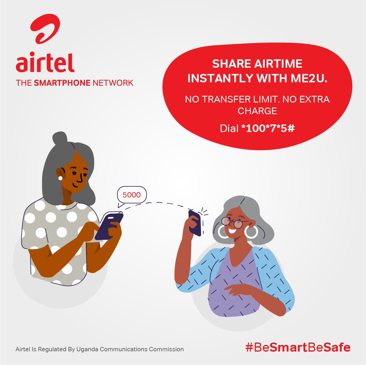 Sharing is caring and caring is happiness. Share your airtime instantly at no extra cost with no transfer limit with Airtel Me 2 U. Simply Dial 100*7*5# to get started. #BeSmartBeSafe