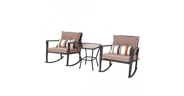 RT @CountryVintage_: Brown 3 Piece Patio Set Rattan Wicker Rocking Chairs...