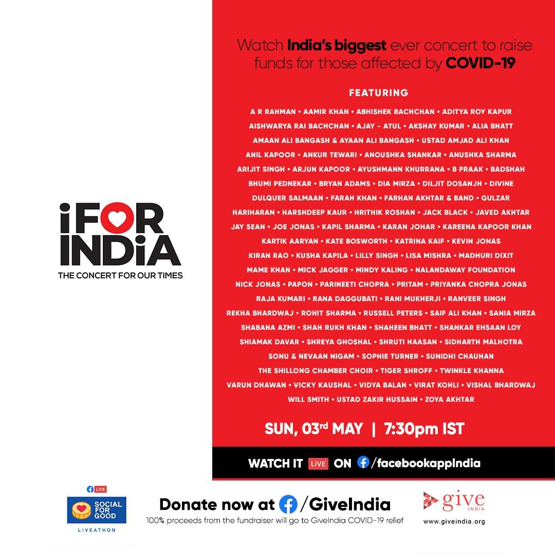 Happy to participate in #IForIndia... a concert to raise funds for those affected by Covid-19.  Sunday, 3rd May, 7:30 PM IST.  Concert dekhiye aur yaad rakhiye... Sab Sahi Ho Jayega.   Watch it LIVE here:
