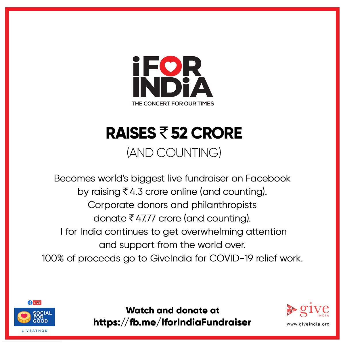From our hearts to yours. Thank you for watching. Thank you for responding. Thank you for donating. #IForIndia started out as a concert. But it can be a movement. Let's continue to build a safe,healthy & strong India. I For India. Please donate   @GiveIndia