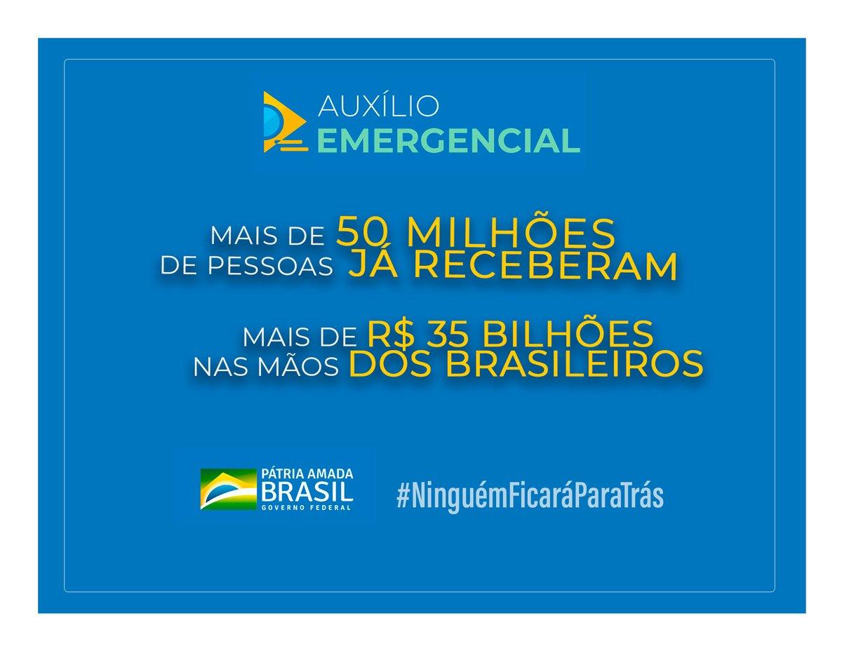 Um mês do lançamento do app do Auxílio-Emergencial. Saímos do zero para mais de 96 milhões de cpfs processados. Mais de 50 milhões de brasileiros já receberam, mais de R$ 35 bilhões nas mãos das pessoas. Determinação do Presidente  Bolsonaro : ninguém ficará para trás.🇧🇷