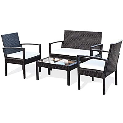 Tangkula Patio Conversation Set, with Glass Coffee Table, Loveseat &...