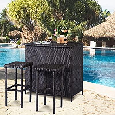 Tangkula 3 Piece Patio Bar Set Rattan Wicker Bar Stools & Table for Lawn...