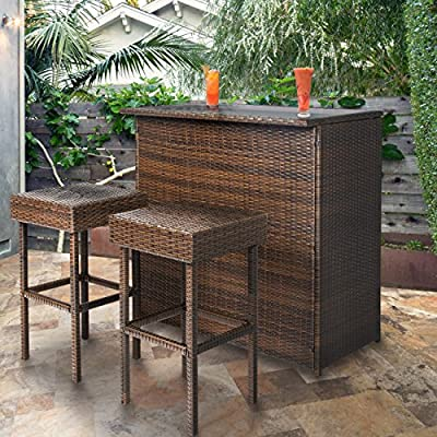 Best Choice Products 3-Piece All-Weather Wicker Bar Table Set for Indoor...