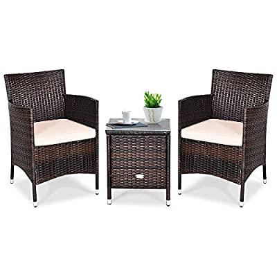 Tangkula Patio Furniture Set 3 Piece, Outdoor Wicker Rattan Conversation Set...