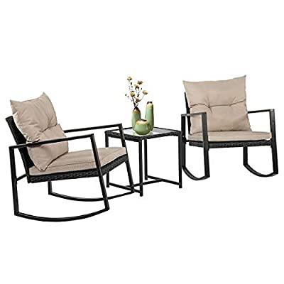 FDW Wicker Patio Furniture Sets Outdoor Bistro Set Rocking Chair 3 Piece...
