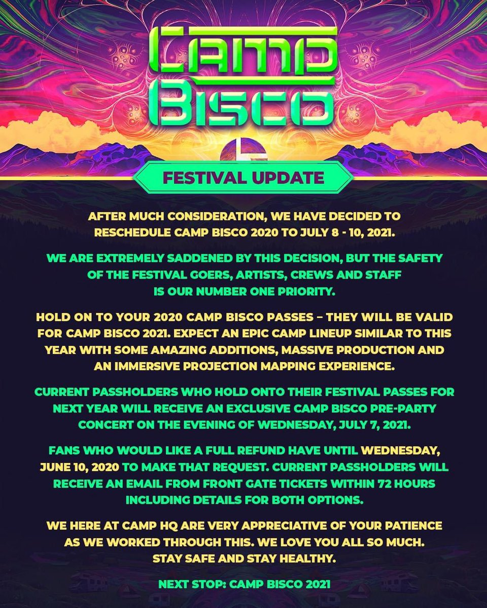 Camp Bisco 2020 has been canceled