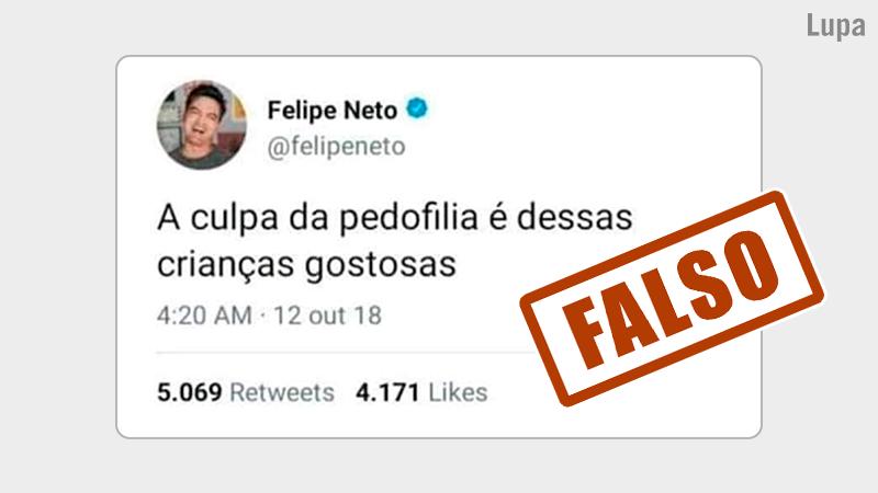 ❌ Em seu perfil no Twitter, @felipeneto se pronunciou sobre essa montagem. Vale pontuar que @felipeneto usa seu canal no YouTube para denunciar a exploração sexual de crianças e adolescentes na internet. Confira em:  #AgênciaLupa
