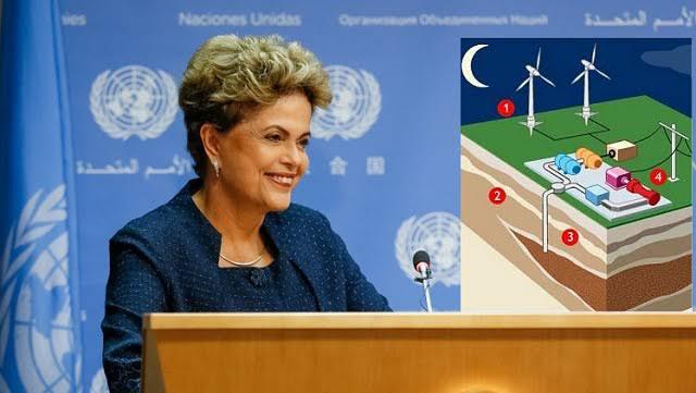 """Em 2015, Dilma Rousseff em entrevista à ONU fala sobre a necessidade de """"estocar vento."""" Memes e piadas sugeriram que a presidenta era burra: hoje a armazenagem de energia eólica (limpa) não só é possível como necessária."""