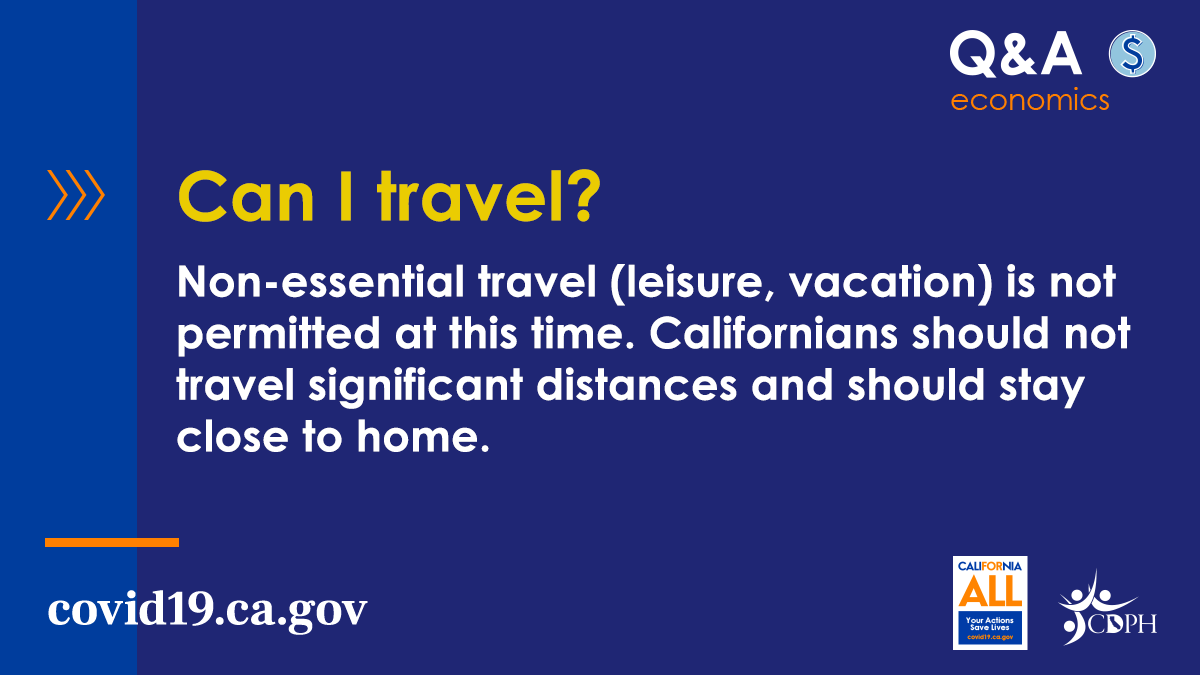 Traveling to counties across California could cause #COVID19 cases to spike.     Stay local. Stay safe. Keep California healthy. #YourActionsSaveLives