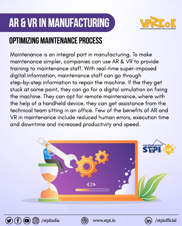 Manufacturing companies can leverage #AR & #VR apps to provide training to maintenance staff to reduce errors & increasing productivity. To develop AR & VR soln for manufacturing sector, join #STPIVARCoE:  #STPICoEs #STPIINDIA #STPIINCUBATION #GrowWithSTPI