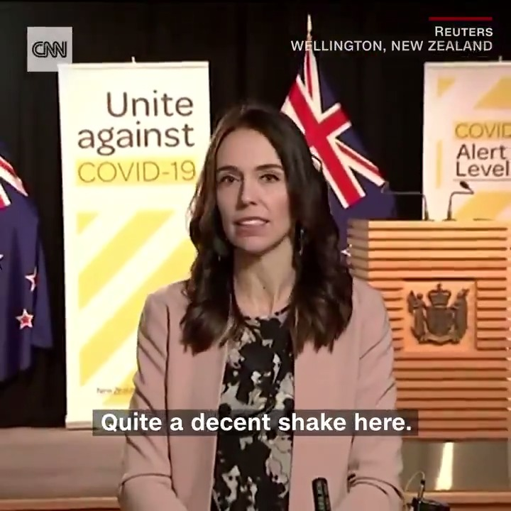 """""""We're just having a bit of an earthquake here.""""  New Zealand Prime Minister Jacinda Ardern kept her cool as an earthquake struck during a live TV interview"""