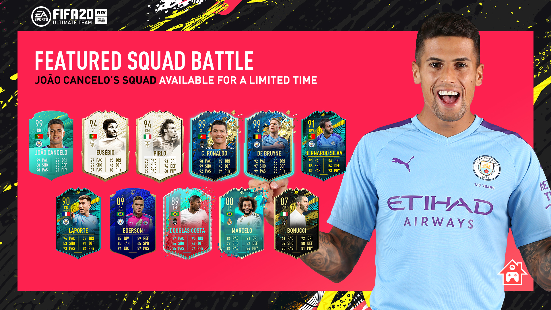 Think you've got a chance against Joao Cancelo's squad on #FIFA20? 🔥🎮  Cancelo's Featured Squad Battle is available in-game now!  ⚽️ @EASPORTSFIFA #FUT20 🔵 #ManCity https://t.co/O3jUGVFqyA