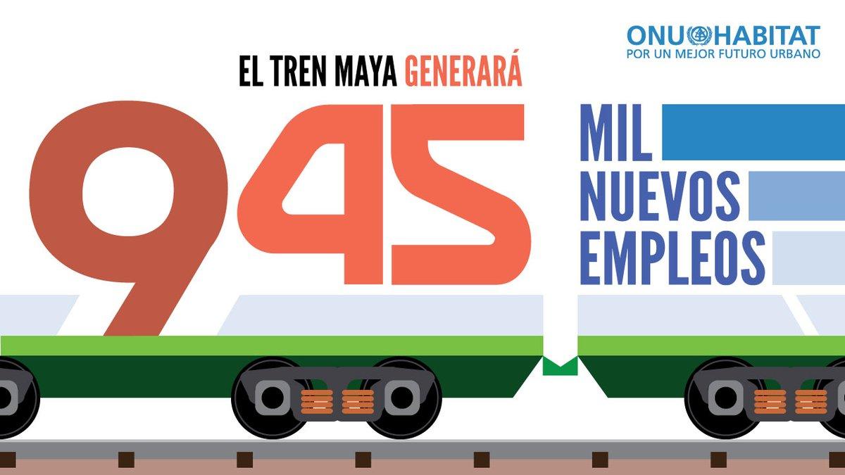 ONU-Habitat estima que de hoy al año 2030, el @TrenMayaMX creará 715,000 nuevos empleos en los municipios con estación de tren, 150,000 en la economía rural asociada y 80,000 más con los trabajos de construcción de los cinco primeros tramos en 2020.