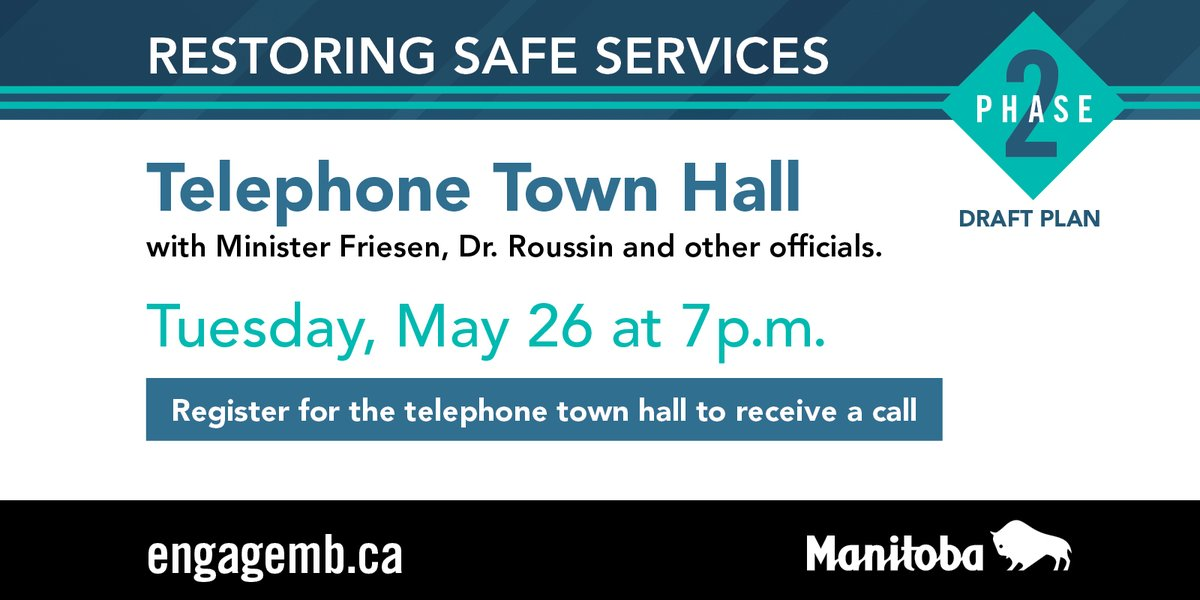 test Twitter Media - Interested in joining the telephone town hall to discuss the draft plan for Phase Two of restoring safe services in Manitoba?  Register online today at receive a call at 7 p.m. on Tuesday, May 26 to join the discussion https://t.co/GhFSpUftPw. #Covid19MB https://t.co/RU8p87gOv9