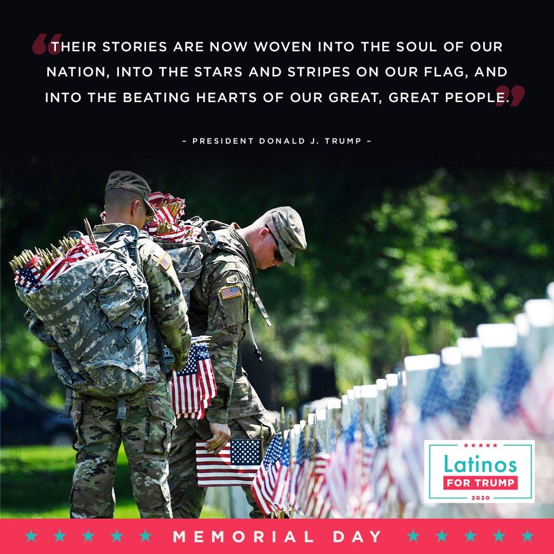 En el Día de los Caídos, recordamos a los valientes hombres y mujeres que dieron sus vidas por nuestra nación. Que Dios los bendiga a ellos y a sus familias. 🇺🇸