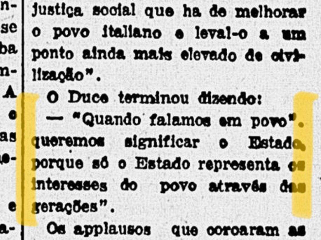 """Paulo Pimenta, sua anta, veja o que Mussolini entende por """"povo"""" no mesmíssimo jornal."""