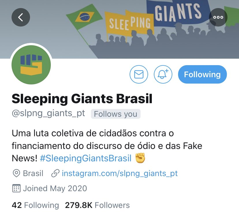 Almost four years of long days, hard work, sleepless nights, constant attacks by trolls, hard-fought wins, tough losses and endless stress and...Sleeping Giants Brasil passes us in followers in less than a week.  Congratulations, @slpng_giants_pt!