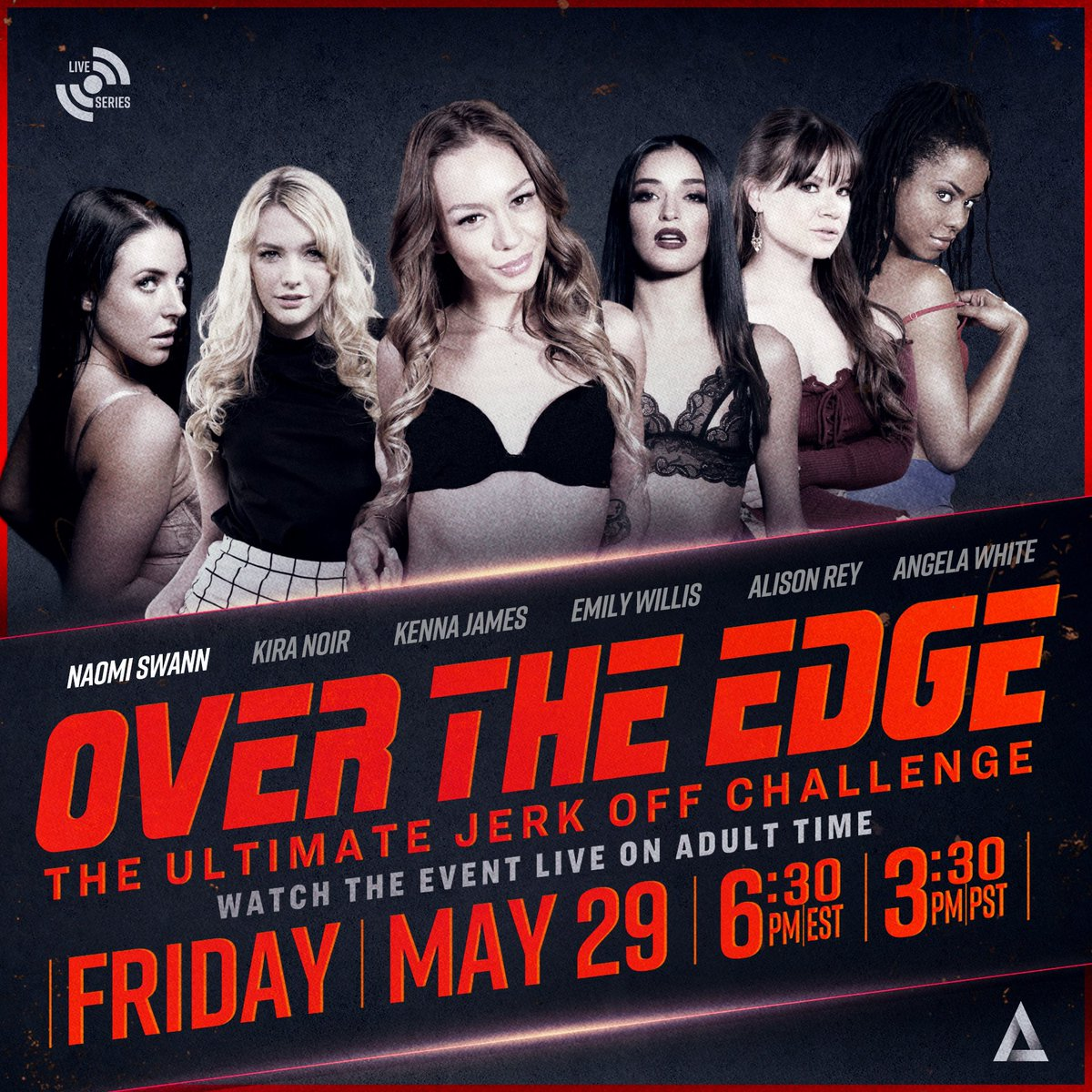 Who thinks they're ready for THE ULTIMATE JERK OFF CHALLENGE?  Watch as @ANGELAWHITE hosts me, @thekiranoir , @kennajames21 , @emilywillisxoxo and @AlisonReyxxx through dares, games and challenges 😈  Tune in LIVE this Friday, MAY 29th @ 3:30 PST 🚨❣️