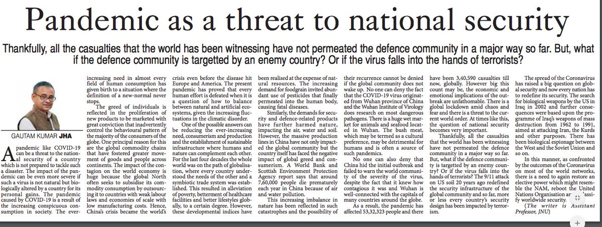 Pandemic as Threat to National Security, May 25, 2020. The Pioneer, Delhi