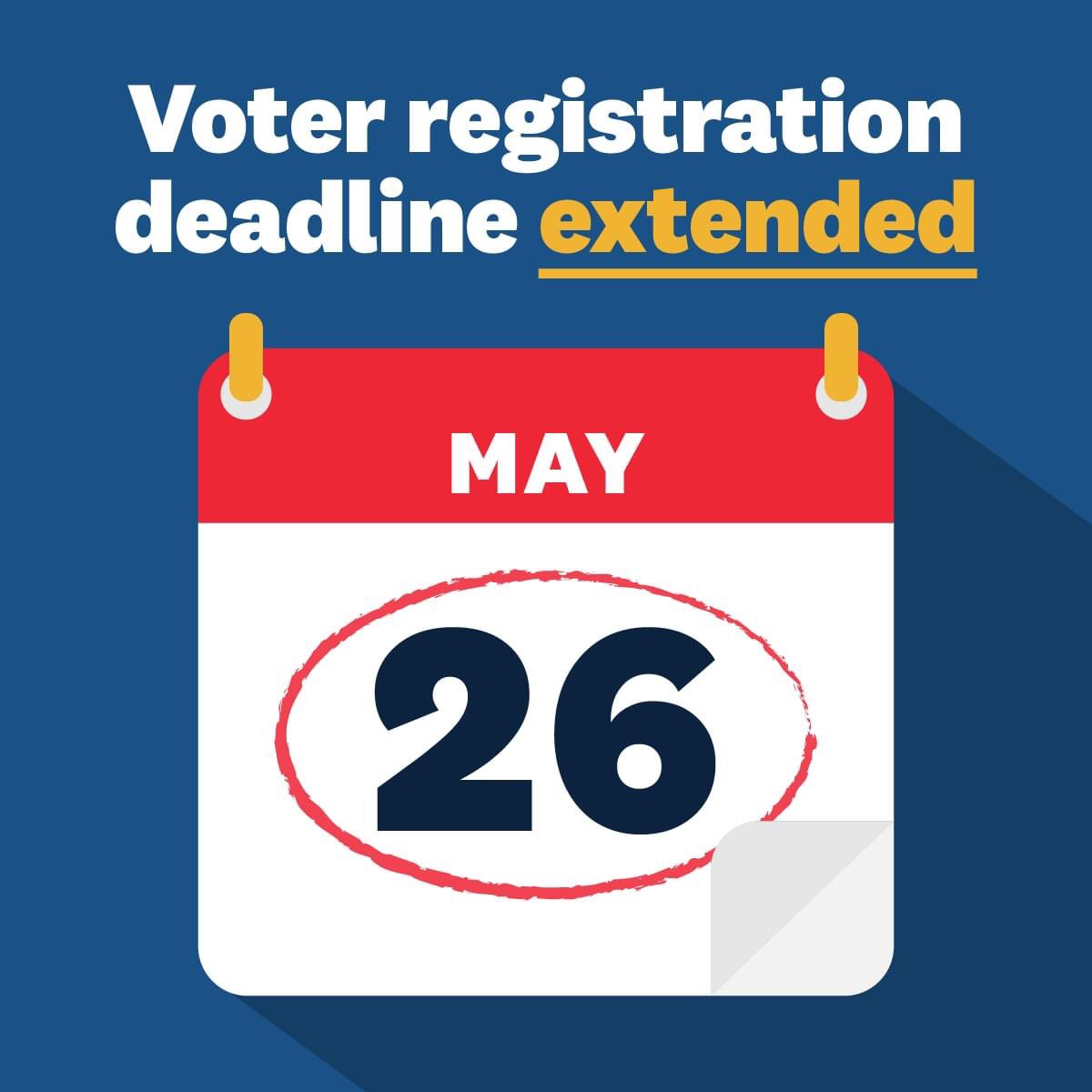 The deadline to register to vote is tomorrow at 4 PM local time. This is a great day to register to vote, as we remember those who fought and died to preserve this quintessential freedom. Visit
