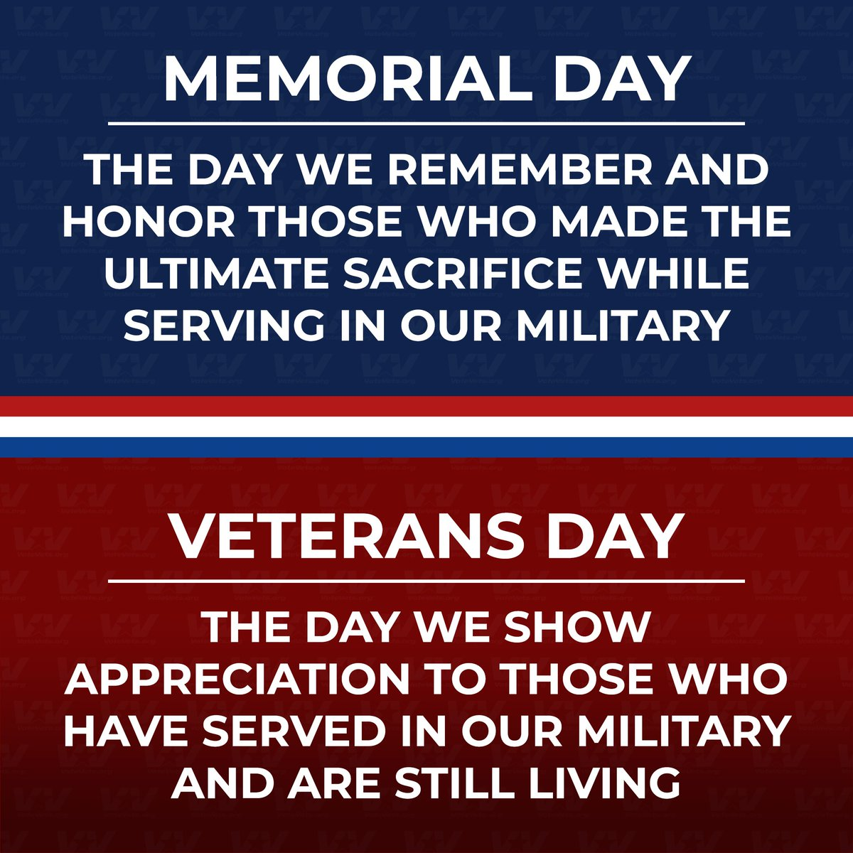 It's important to know the difference between #MemorialDay and Veterans Day.
