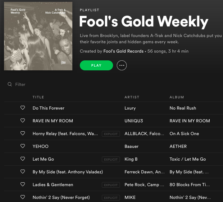 NEW @baauer  @FerreckDawn  @PeteRock  @t6mikee  on Fool's Gold Weekly