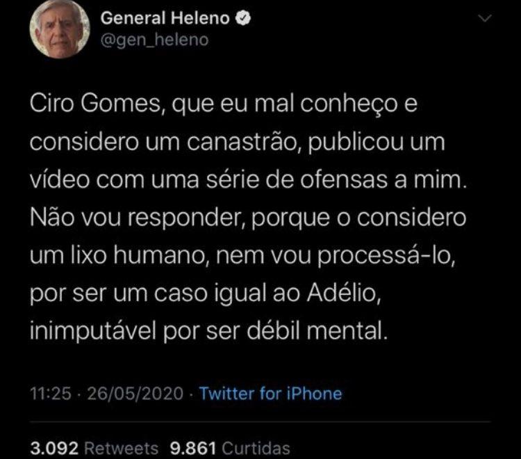 """ser chamado de """"lixo humano"""" pelo genera Heleno é como ser premiado com o Nobel da Paz  parabéns, Ciro Gomes 🌹"""