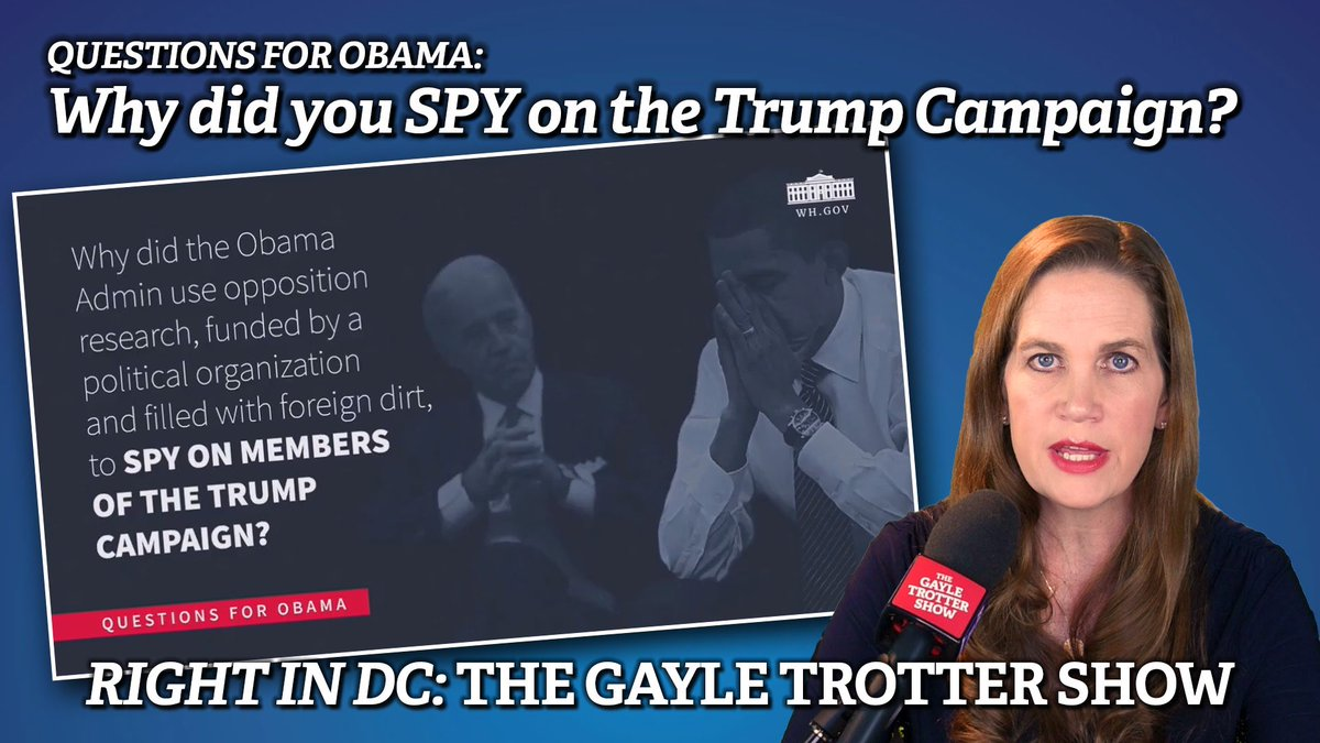 Five questions for Barack Obama —Number One: why did your administration spy on the @realDonaldTrump campaign? Watch today's episode where we do the work the #MSM won't do.