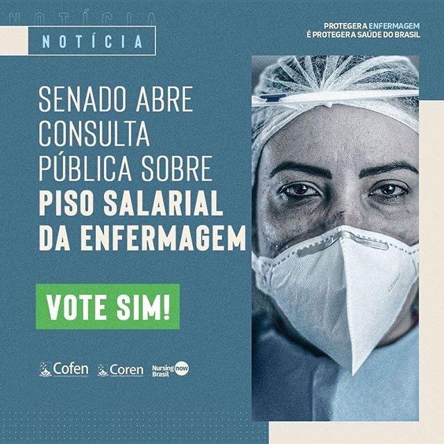 O Senado Federal abriu consulta pública sobre o #PL2564, que institui piso salarial de R$ 7.315,00 para enfermeiros, R$ 5.120,00 para técnicos, e de R$ 3.657,00 para auxiliares de Enfermagem.  Sua participação é muito importante. Clique aqui  e vote SIM!