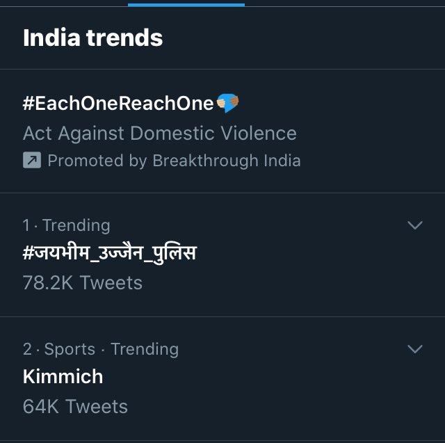 नम्बर 1 पर trend कर रहा है। #जयभीम_उज्जैन_पुलिस