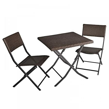 FDW 3-Piece Table and Chairs Patio Deck Outdoor Bistro Cafe Furniture Wicker...
