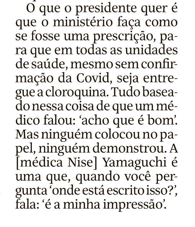 A entrevista que o ex-ministro @lhmandetta deu à Folha de São Paulo é estarrecedora. Tudo o que ele conta mostra que a gente está nas mãos do presidente mais amador, incompetente e irresponsável do mundo. Leiam na íntegra:  👈