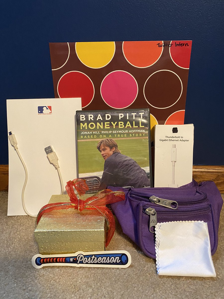 It wouldn't be a birthday party without a goody bag!   RT for a chance to win: - Fanny pack - Screen cleaning cloth  - Postseason sticker  - MLB notepad - Portable charger cable - Moneyball DVD - Ethernet adapter  - Gift box - Twitter Intern's folder