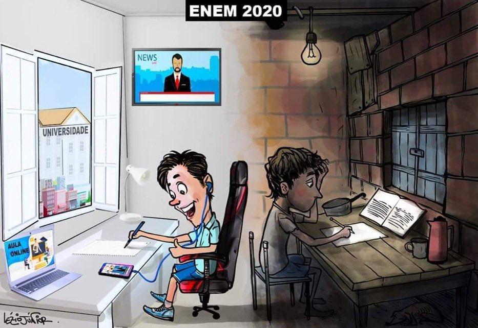 Se você precisa de mais do que essa imagem pra entender, é porque te falta humanidade básica.  #AdiaEnem