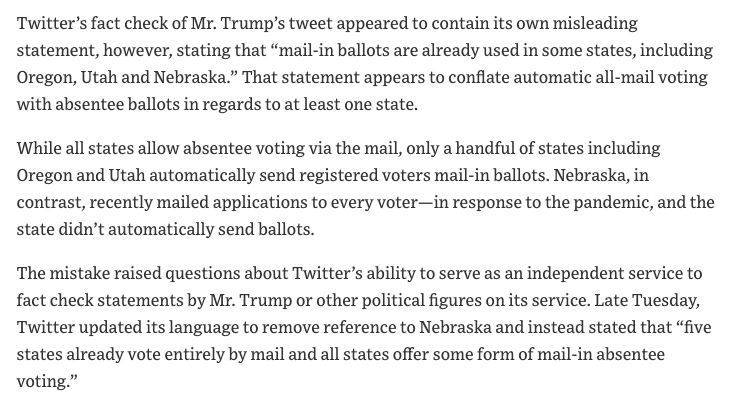 There was an error in Twitter's fact check of Trump's vote-by-mail tweets, underscoring the challenge social media platforms face trying to arbitrate truth.  It was corrected after an elections professional notified the company (and me) about the mistake.