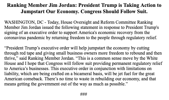 """There's no time to waste in rebuilding our economy, & that means getting the government out of the way as much as possible"" -@Jim_Jordan  @realDonaldTrump's executive order on regulations will be ""will be jet fuel for the great American comeback."""
