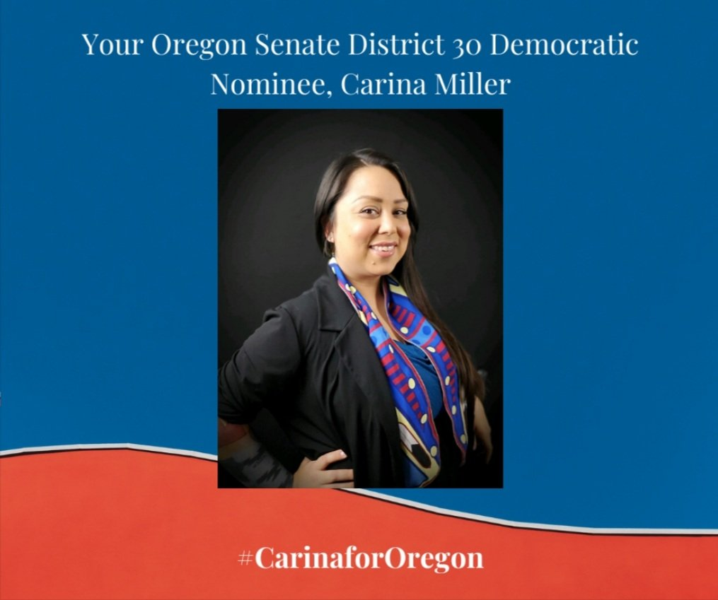 In 161 years of Oregon's existence there has NEVER been an Oregon Tribal member Major Party Nominee! Carina Miller moves forward as the Senate District 30 Democratic Nominee! carinamiller.  #CarinaforOregon #Historyinthemaking #Orpol #SheRepresents 🌊 #Grassroots #PeoplePowered