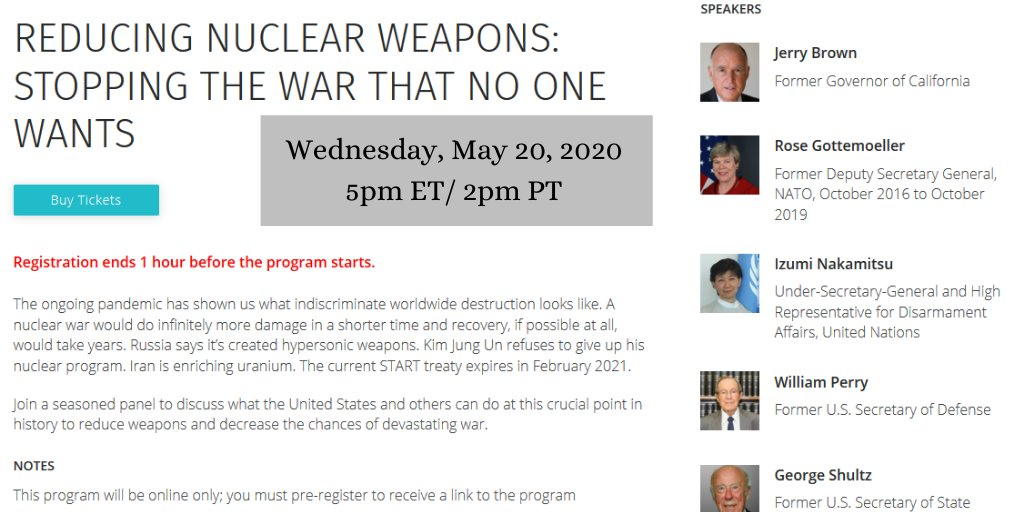 🚨 TODAY at 5pm ET: Register to join seasoned decision-makers Secretary George Shultz, @Gottemoeller, @SecDef19, @INakamitsu, & @JerryBrownGov as they explain what we need to do now to prevent a nuclear war:  | @cwclub