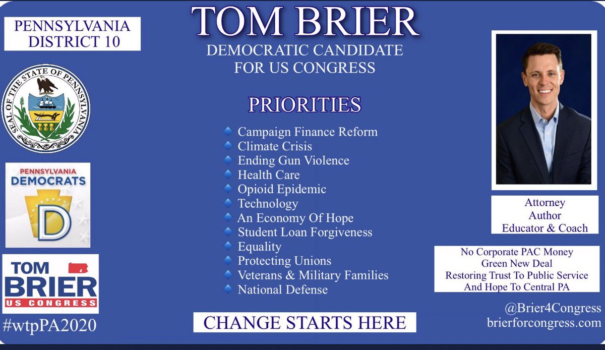 @Brier4Congress While the tRump admin is in denial of environmental protections & quickly destroying our planet,  Tom Brier #PA10 supports— the Green New Deal and agrees that  Climate change is the defining issue of our time.   #wtpPA2020 #wtp2020  #wtpTeam