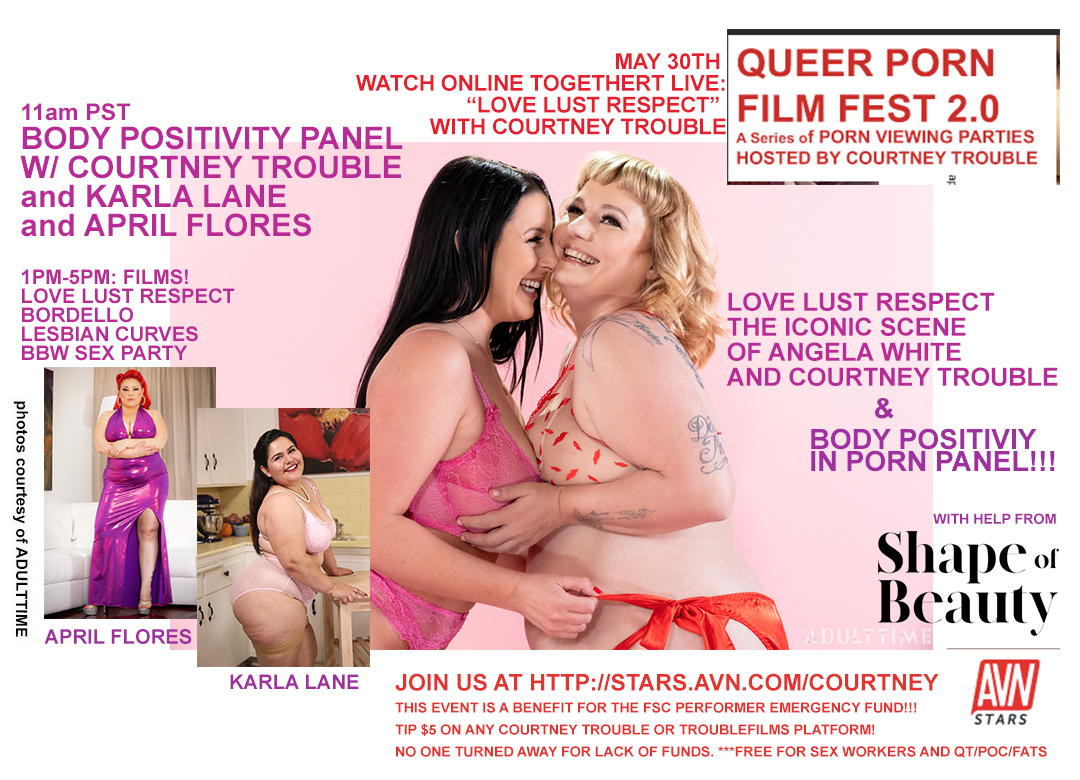 """Using 2 flyers to announce the same thing: the May 30th """"Body Positivity in Porn"""" themed QUEER PORN FILM FEST 2.0 #qpff20 is screening my @shapeofbeautyx  scene w/ @angelawhite, and hosting a panel with @karlaxlane and @TheAprilFlores 😍ty @Adulttimecom for pix and sponsorship!"""
