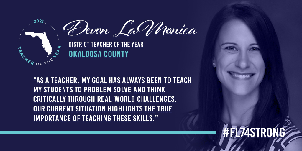"""""""My goal has always been to teach my students to problem solve & think critically through real-world challenges.""""  Congratulations to Devon LaMonica, the 2021 Teacher of the Year for @OCSD1!  #FL74strong #distancelearning"""