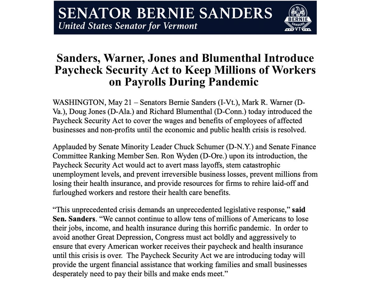 Today, we are introducing the Paycheck Security Act to guarantee the wages and benefits of millions of workers during this devastating pandemic.   I want to thank @SenSchumer and @RonWyden for their support of this critical legislation.