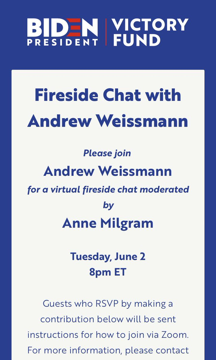Andrew Weissmann, former lead prosecutor on Mueller's special counsel team, is headlining a June 2nd virtual fundraiser for Biden.
